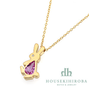 ウサギ ピンクサファイア・ダイヤ ペンダントネックレス
