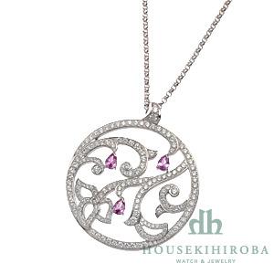 ライムライト 刺繍モチーフ ペアシェイプピンクサファイア・ダイヤ ペンダントネックレス