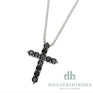 クロス ブラックダイヤ ペンダントネックレス