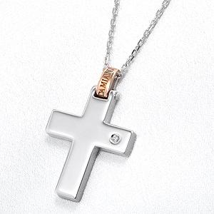 リフレックスクロス 1Pダイヤ ペンダントネックレス(L)