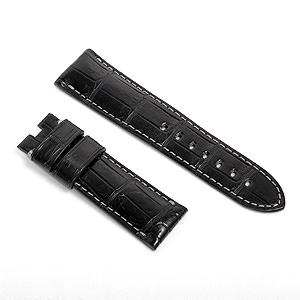 宝石広場オリジナル パネライ用ストラップ クロコダイル バックル用 ブラック/グレー 24‐22mm