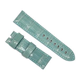 宝石広場オリジナル パネライ用ストラップ クロコダイル 尾錠用 アクアブルー(シャイニー) 24‐22mm
