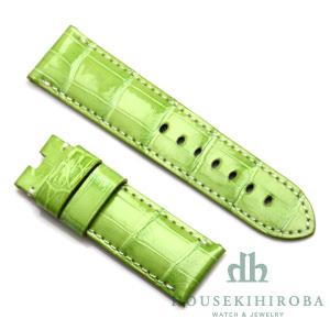宝石広場オリジナル パネライ用ストラップ クロコダイル バックル用 ライトグリーン(シャイニー)/ホワイト 24‐22mm