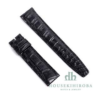 宝石広場オリジナル IWCポルトギーゼクロノ用ストラップ クロコダイル 尾錠用 ブラック/ブラック 20‐18mm