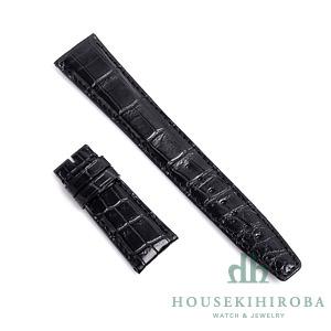 宝石広場オリジナル IWCポルトギーゼオート用ストラップ クロコダイル バックル用 ブラック/ブラック 22‐18mm