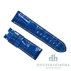 宝石広場オリジナル パネライ用ストラップ クロコダイル バックル用 ブルー(シャイニー)/ホワイト 24‐22mm