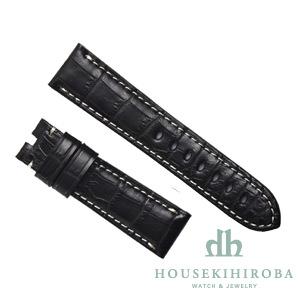 宝石広場オリジナル パネライ用ストラップ クロコダイル 尾錠用 ブラック/ホワイト 22‐20mm
