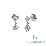 2P DIAMOND DROP PIERCED EARRINGS