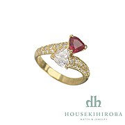 HEART SHAPED RUBY HEART SHAPED DIAMOND DIAMOND RING