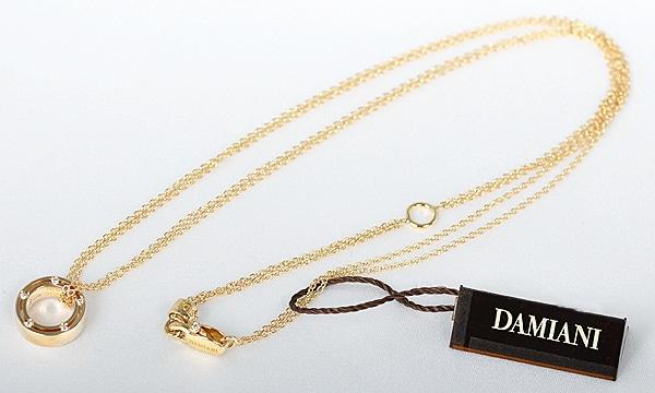 Dサイド ダブルチェーン 10Pダイヤ ネックレス