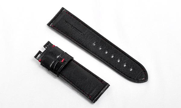 宝石広場オリジナル パネライ用ストラップ クロコダイル バックル用 ブラック/レッド 24‐22mm