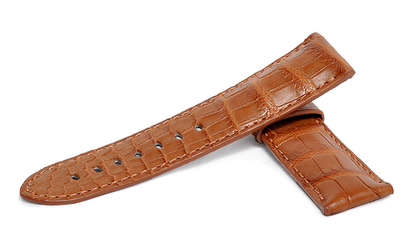 宝石広場オリジナル パネライ用ストラップ クロコダイル バックル用 キャメル 24‐22mm