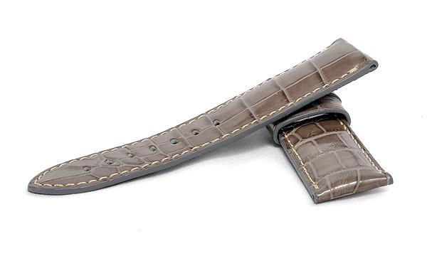 宝石広場オリジナル パネライ用ストラップ クロコダイル バックル用 グレー/ホワイト 24‐22mm