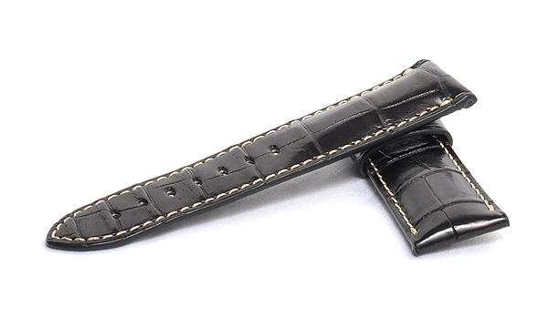宝石広場オリジナル パネライ用ストラップ クロコダイル バックル用 ブラック/ホワイト 24‐22mm