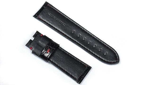 宝石広場オリジナル パネライ用ストラップ クロコダイル 尾錠用 ブラック/レッド 24‐22mm