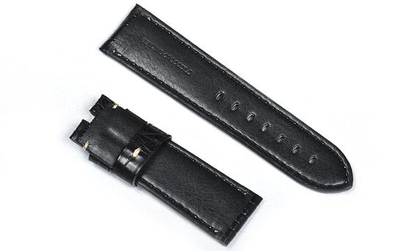 宝石広場オリジナル パネライ用ストラップ クロコダイル 尾錠用 ブラック/ホワイト 24‐22mm