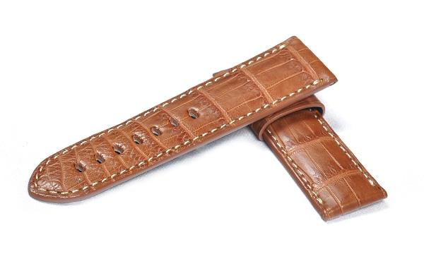 宝石広場オリジナル パネライ用ストラップ クロコダイル 尾錠用 ブラウン/生成り 24‐22mm