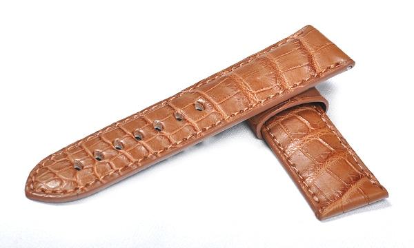 宝石広場オリジナル パネライ用ストラップ クロコダイル 尾錠用 キャメル 24‐22mm