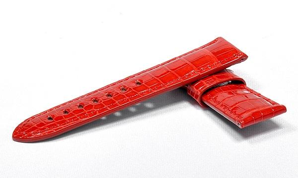 宝石広場オリジナル パネライ用ストラップ クロコダイル 尾錠用 レッド/レッド 24‐22mm