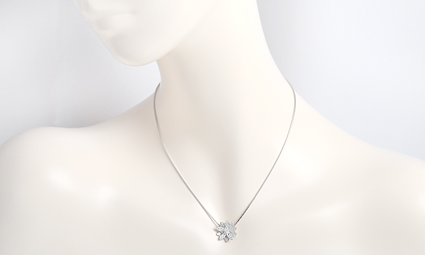 ロータス ダイヤ ペンダント ネックレス(S)