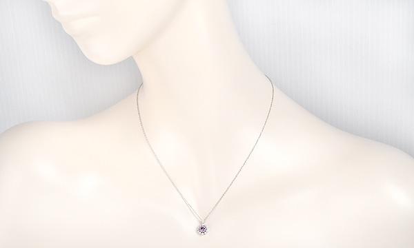 ミルグレイン ピンクサファイア ダイヤ ネックレス