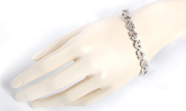 Cハート フルダイヤ ブレスレット