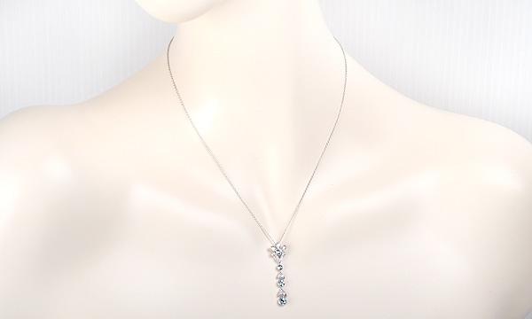 4Pアクアマリン・ダイヤ ネックレス