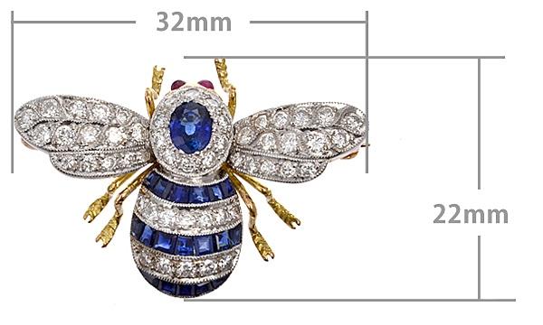 蜂モチーフ サファイア・ルビー・ダイヤ ブローチ