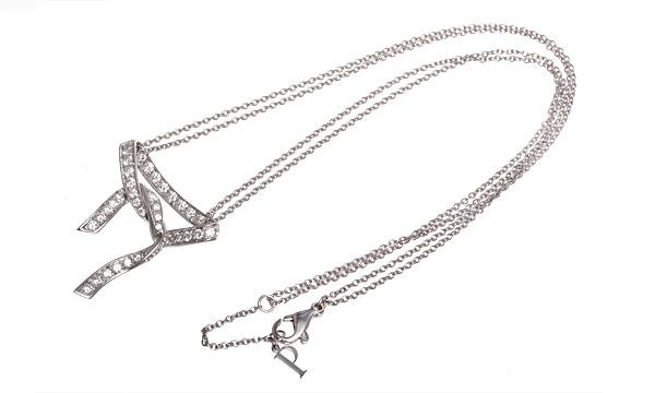 パリ・インスピレーション リボン ダイヤ ダブルチェーンネックレス