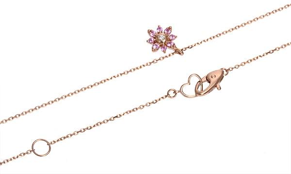 フラワー ピンクサファイア・ダイヤ ネックレス