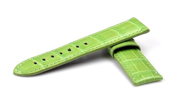 宝石広場オリジナル パネライ用ストラップ クロコダイル 尾錠用 ライトグリーン(シャイニー) 24‐22mm