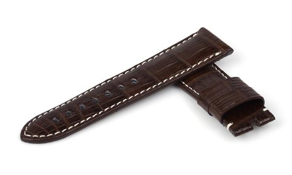 宝石広場オリジナル パネライ用ストラップ クロコダイル 尾錠用 ダークブラウン/ホワイト 24‐22mm