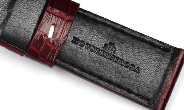 宝石広場オリジナル パネライ用ストラップ クロコダイル 尾錠用 ボルドー/ホワイト 24‐22mm