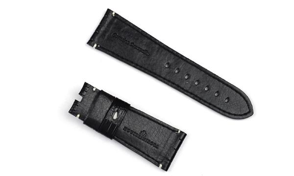 宝石広場オリジナル ラジオミール用ストラップ クロコダイル 尾錠用 ブラック/ホワイト 27‐22mm