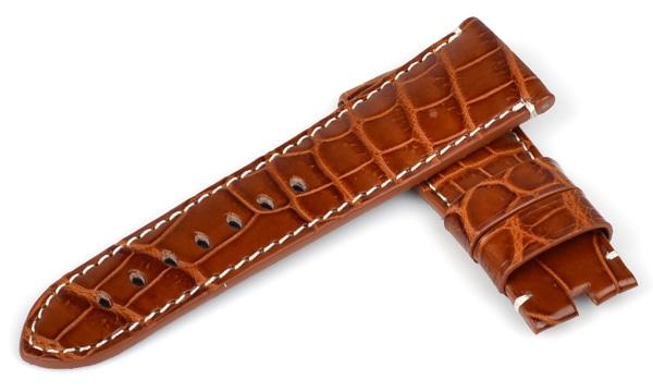 宝石広場オリジナル ラジオミール用ストラップ クロコダイル 尾錠用 ブラウン/ホワイト 27‐22mm