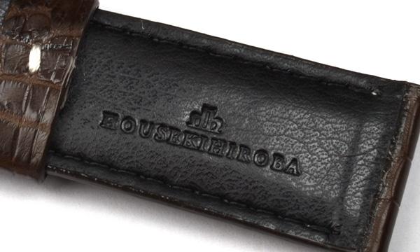 宝石広場オリジナル パネライ用ストラップ クロコダイル バックル用 ダークブラウン/ホワイト 24‐22mm