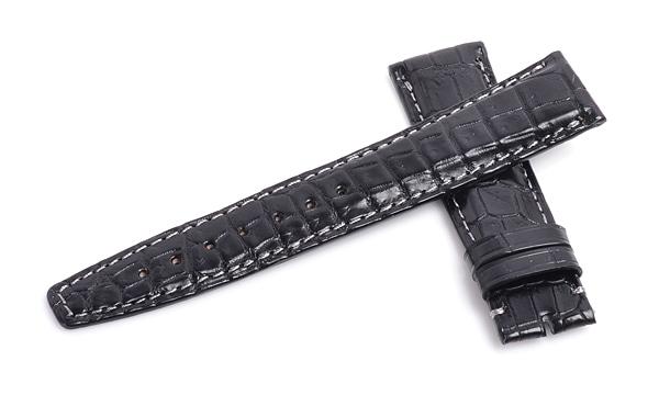宝石広場オリジナル IWCポルトギーゼクロノ用ストラップ クロコダイル 尾錠用 ブラック/グレー 20‐18mm