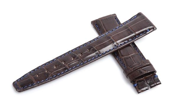 宝石広場オリジナル IWCポルトギーゼクロノ用ストラップ クロコダイル 尾錠用 ブラウン/ネイビー 20‐18mm