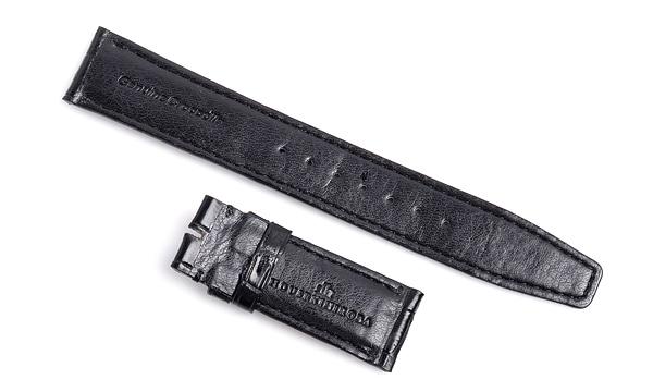 宝石広場オリジナル IWCポルトギーゼクロノ用ストラップ クロコダイル バックル用 ブラック/ブラック 20‐18mm