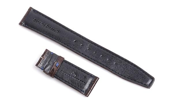 宝石広場オリジナル IWCポルトギーゼクロノ用ストラップ クロコダイル バックル用 ブラウン/ネイビー 20‐18mm