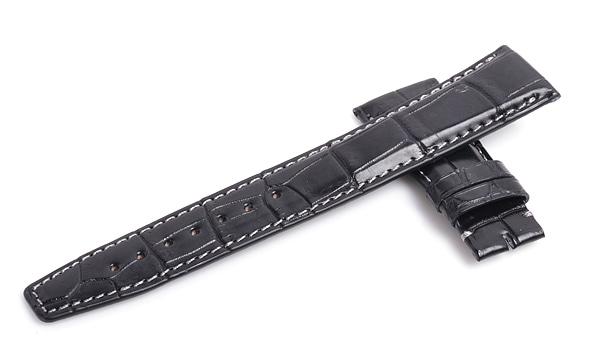 宝石広場オリジナル IWCポルトギーゼオート用ストラップ クロコダイル バックル用 ブラック/グレー 22‐18mm