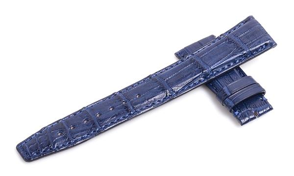宝石広場オリジナル IWCポルトギーゼオート用ストラップ クロコダイル バックル用 ブルー/ブルー 22‐18mm
