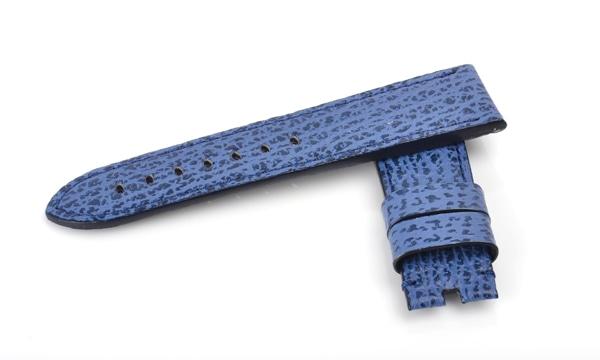 宝石広場オリジナル パネライ用ストラップ シャークスキン 尾錠用 ブルー 24‐22mm