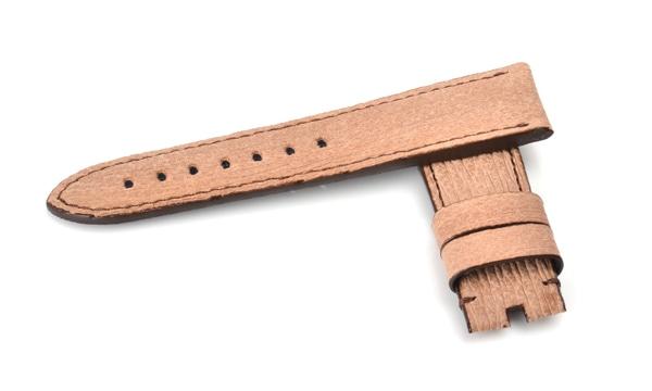 宝石広場オリジナル パネライ用ストラップ シャークスキン 尾錠用 ベージュ/ブラウン 24‐22mm