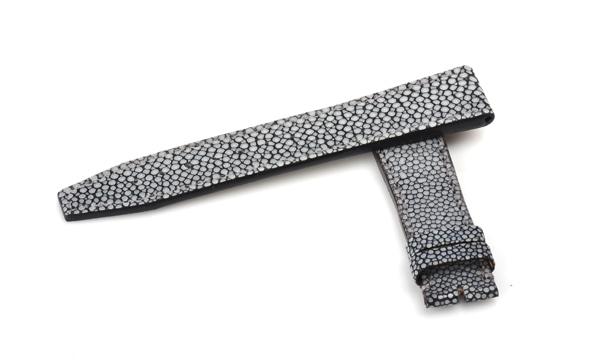 宝石広場オリジナル IWCポルトギーゼクロノ用ストラップ ガルーシャ 尾錠用 ブラック/グレー 20‐18mm