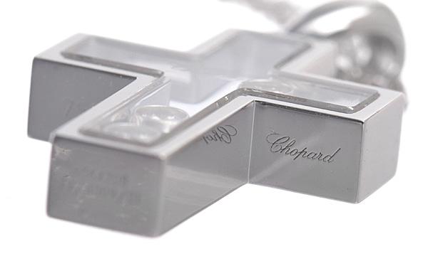 ハッピーダイヤモンド クロス 3Pダイヤ ペンダントネックレス