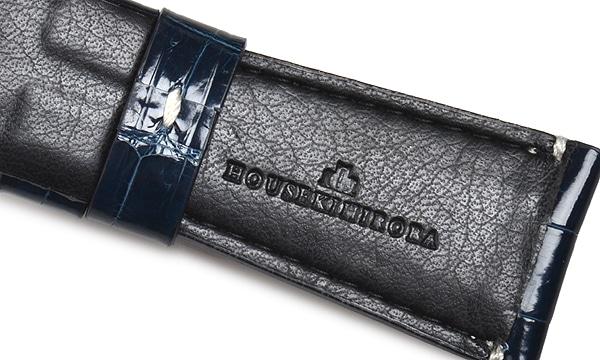 宝石広場オリジナル ラジオミール用ストラップ クロコダイル 尾錠用 ネイビー/ホワイト 27‐22mm