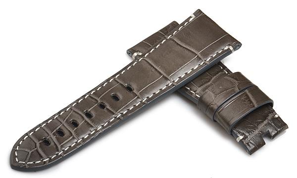 宝石広場オリジナル ラジオミール用ストラップ クロコダイル 尾錠用 グレー/ホワイト 27‐22mm