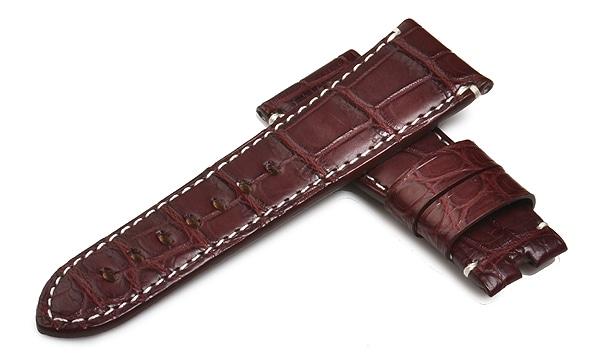 宝石広場オリジナル ラジオミール用ストラップ クロコダイル 尾錠用 ボルドー/ホワイト 27‐22mm