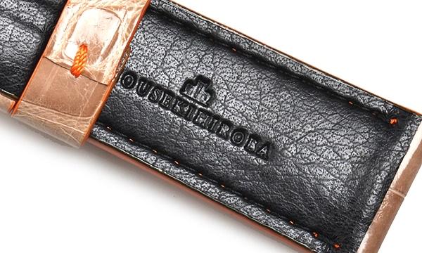 宝石広場オリジナル パネライ用ストラップ クロコダイル 尾錠用 ベージュ(シャイニー)/オレンジ 24‐22mm